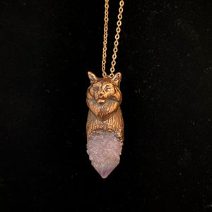 Maine Coon Cat Totem pendant with Spirit Quartz crystal