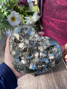 Large Pyrite crystal heart