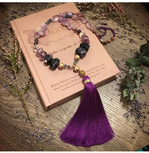 Charoite and Amethyst Mala necklace