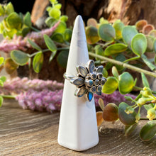 Load image into Gallery viewer, Labradorite multi stone flower ring