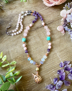 Rose Quartz Unicorn Mala necklace