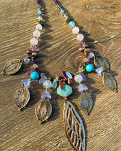 Load image into Gallery viewer, Dragonfly wing multi stone crystal necklace