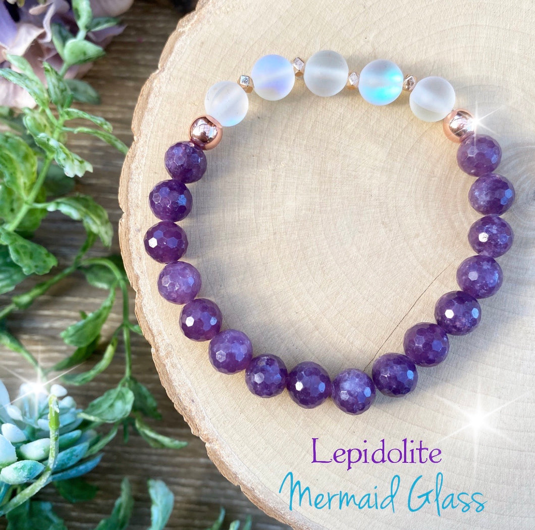 Lepidolite - Mermaid Glass Crystal bracelet