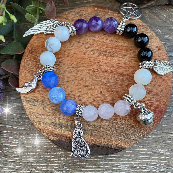 A Witches charm - crystal bead bracelet