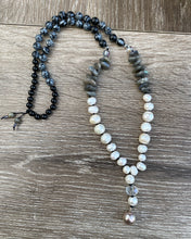 Load image into Gallery viewer, Freshwater Pearl and Labradorite Mala necklace