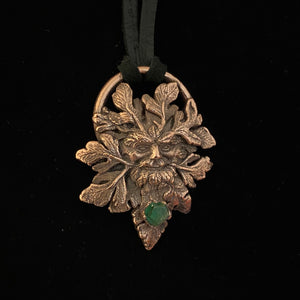 Greenman Totem and Peridot Chunk Relic Necklace
