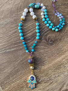 Hamsa Evil Eye Mala necklace
