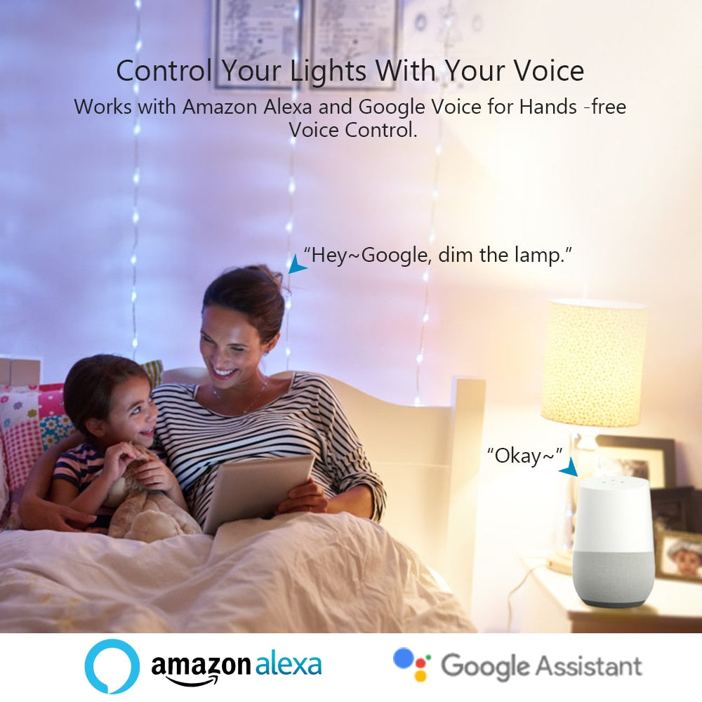 Tuya Smart Life APP Dimmable E27 WiFi RGB LED Bulb Light Voice Control by  Echo Alexa Google Assistant 2 4G WiFi Timer Control