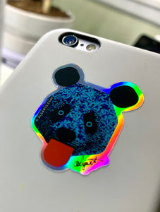 Panda Woke Holographic Sticker