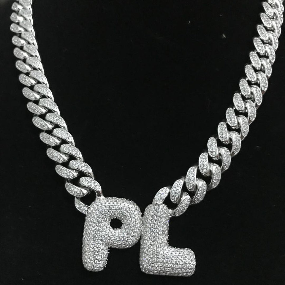707d8caeb3e10 Custom Bubble Letters Name with Cuban Chain Necklace