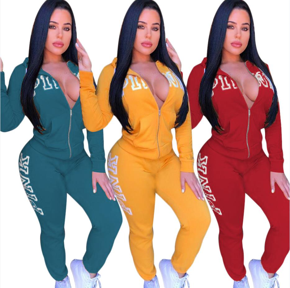 Women's Lettered Tracksuit with Zippered Hoodie