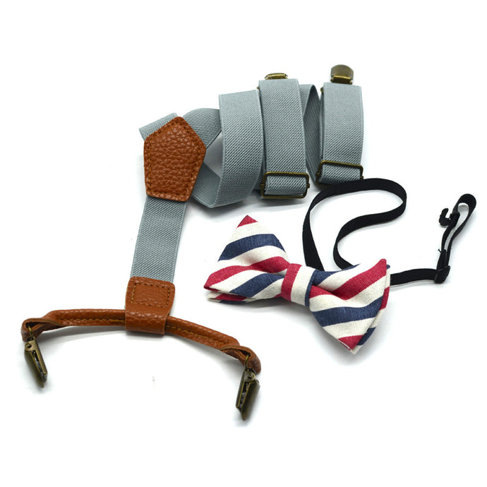 Grey Suspenders with Red, White, and Blue Striped Bowtie