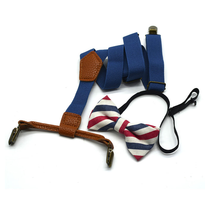 Suspenders with Red, White, and Blue Striped Bowtie