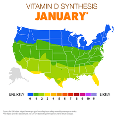 Vitamin D Map of United States in January