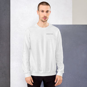 Male crew neck sweatshirt. Black and white