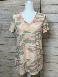 Pink, Taupe, and Cream Camo Top