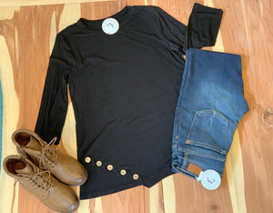 Black top with button detail
