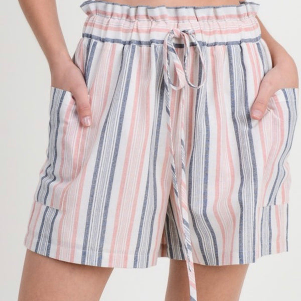 Navy and Pink Striped Shorts