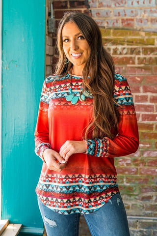 Aztec Print Accent Top