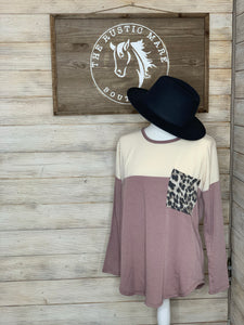 Mauve, Cream, and Leopard Accent Sweatshirt Top