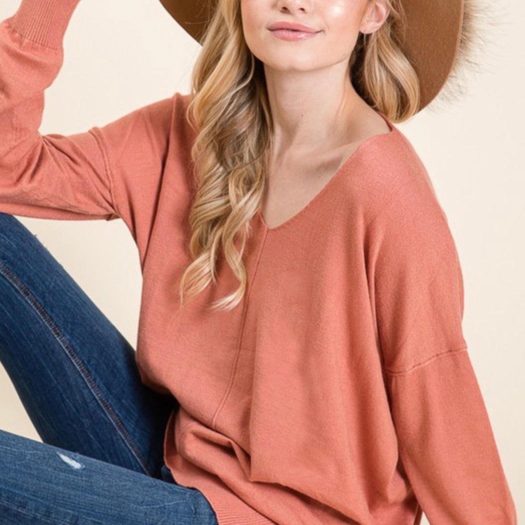 Soft Touch V-neck loose fit sweater tops In Dusty Rose