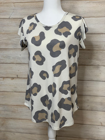 Leopard Print Top with Ruffled Cap Sleeve