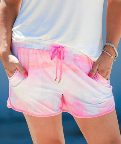Tony Tie Dye Pink and White Drawstring Shorts