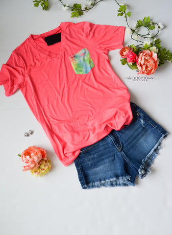 Neon Pink Top with Tie Dye Pocket