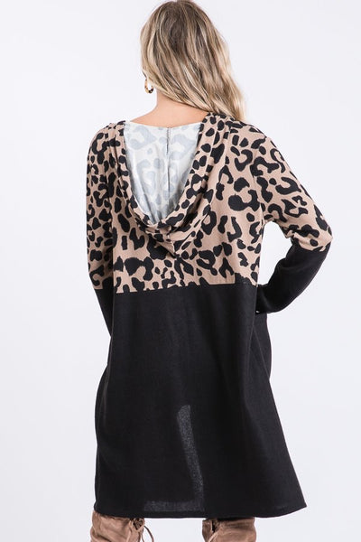 Leopard Print and Solid Cardigan