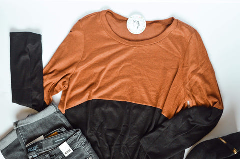 Rust and Black Color Block Top with Front Twist
