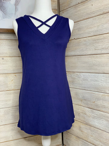 Sleeveless Criss Cross Top in Navy