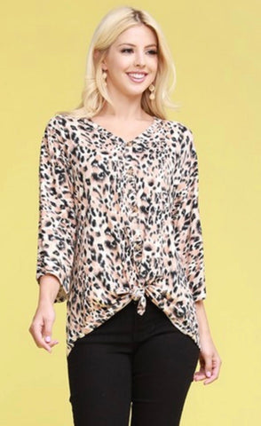 xx 3/4 Sleeve Curvy Kimono style top with buttons