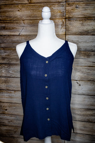 Cotton Guaze Button Front Tank Top