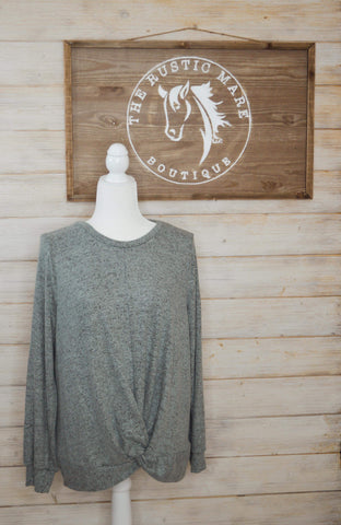 Dark Mint Long Sleeve Twist Front Top