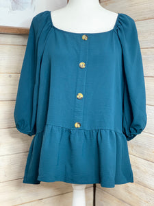 Peplum tunic top in dark teal color