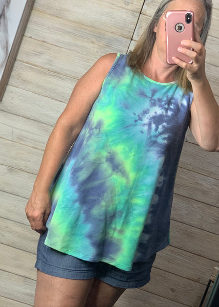 Sleeveless Tie Dye Tank Top in Blue and Green