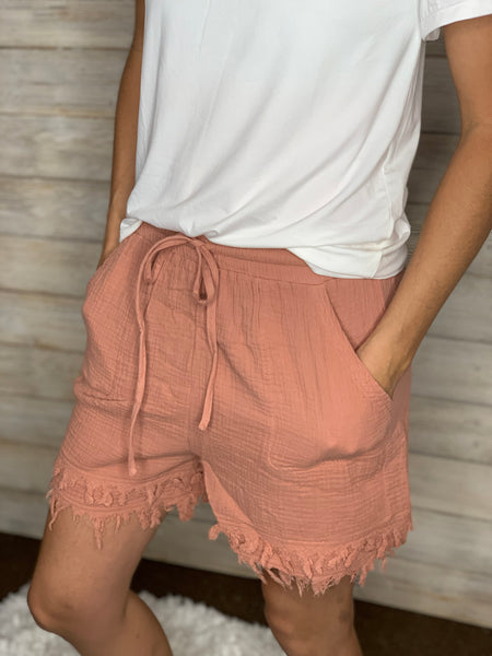 Washed Cotton Guaze Shorts
