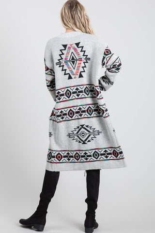 Aztec Print Long Duster Cardigan with Pockets