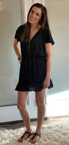 Little black Dress with button and tie detail