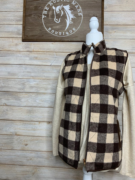 Cream and Mocha Buffalo Plaid Vest