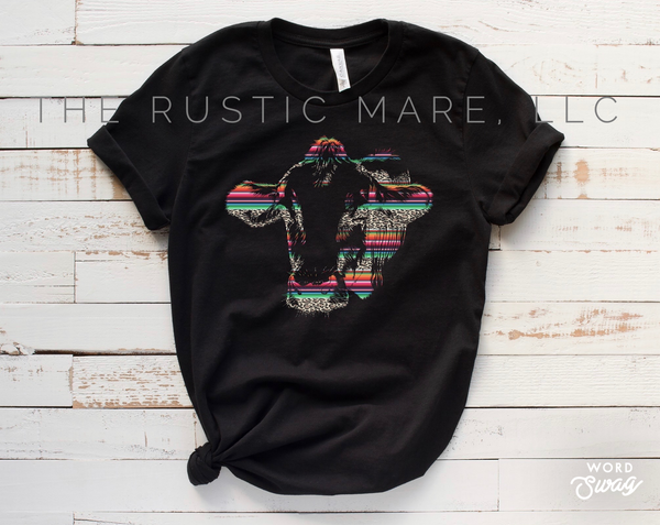 Serape Cow Head tee