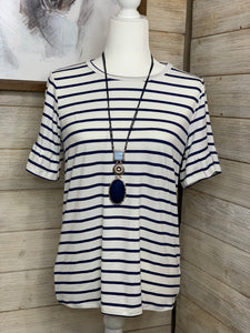 White and Twilight Blue Striped Top
