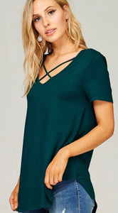Criss Cross v neck top in Emerald Green