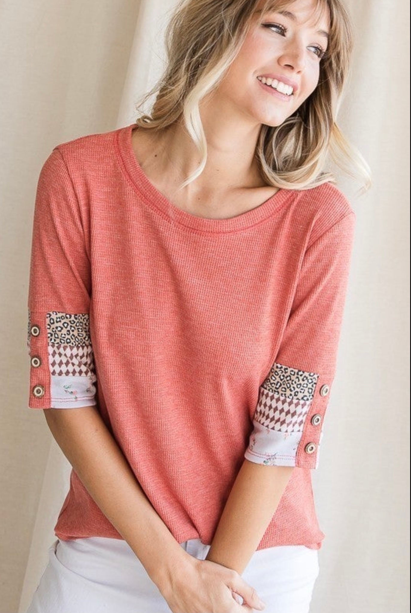 Coral with Color Block Sleeves Top