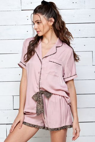 Mauve Trimmed Loungewear Set (top and bottom)