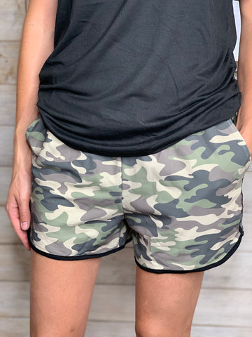 Codie Camo Shorts with Drawstring, Black Piping and Pockets
