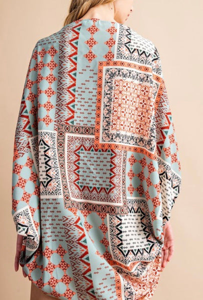 Border Printed Kimono with Dolman Sleeves