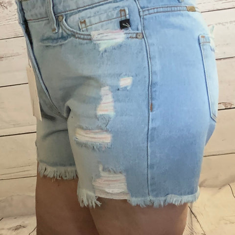 Distressed Relaxed Fit KanCan Shorts