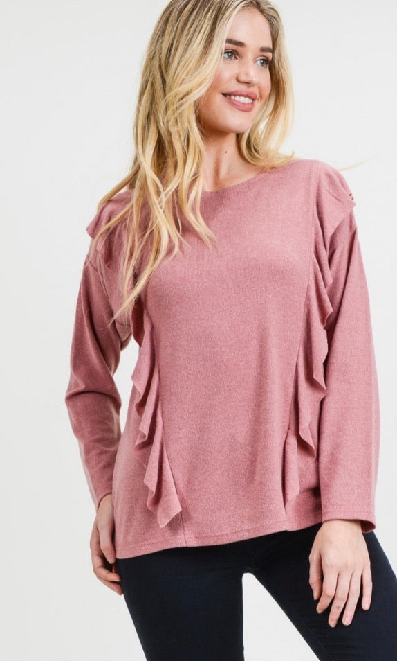 Ruffle Detailed Brushed Long Sleeve Top