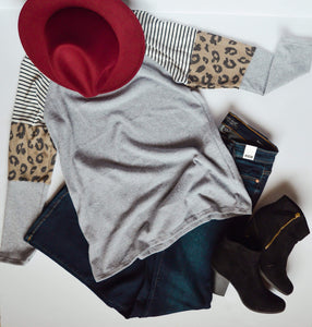 Heather Grey with Stripe, Print, and Solid Top